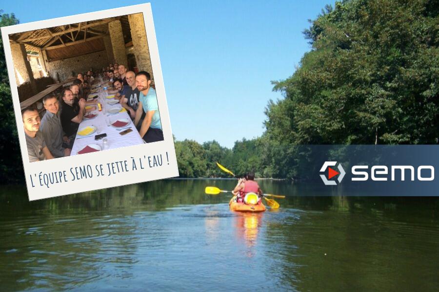 L'équipe semo au canoë pour la journée de cohésion