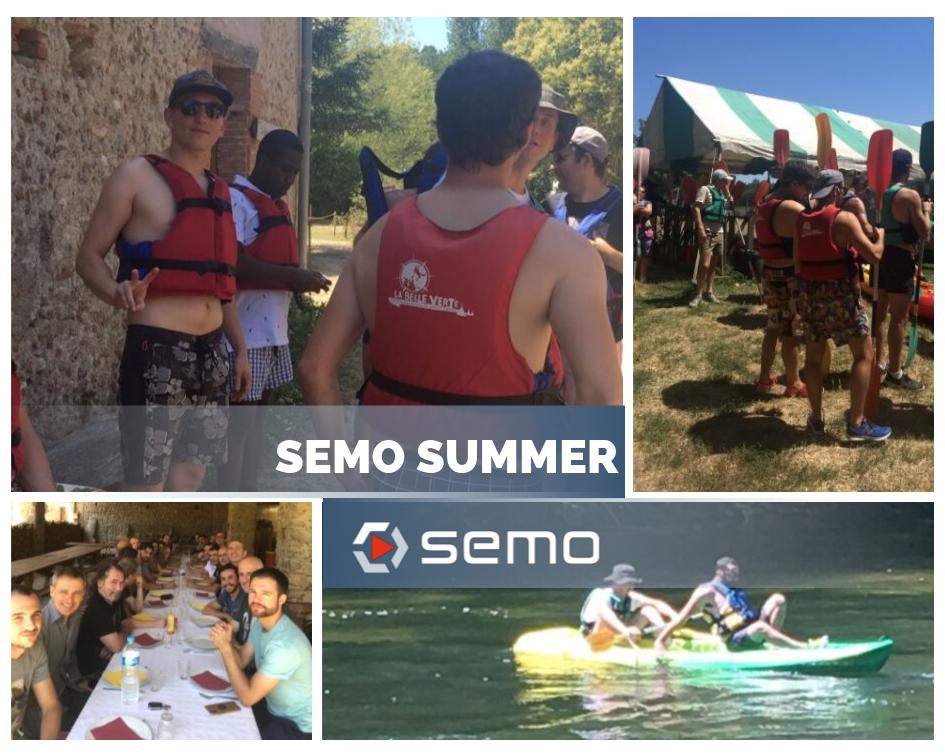 L'équipe de SEMO au canoë pour la journée de cohésion
